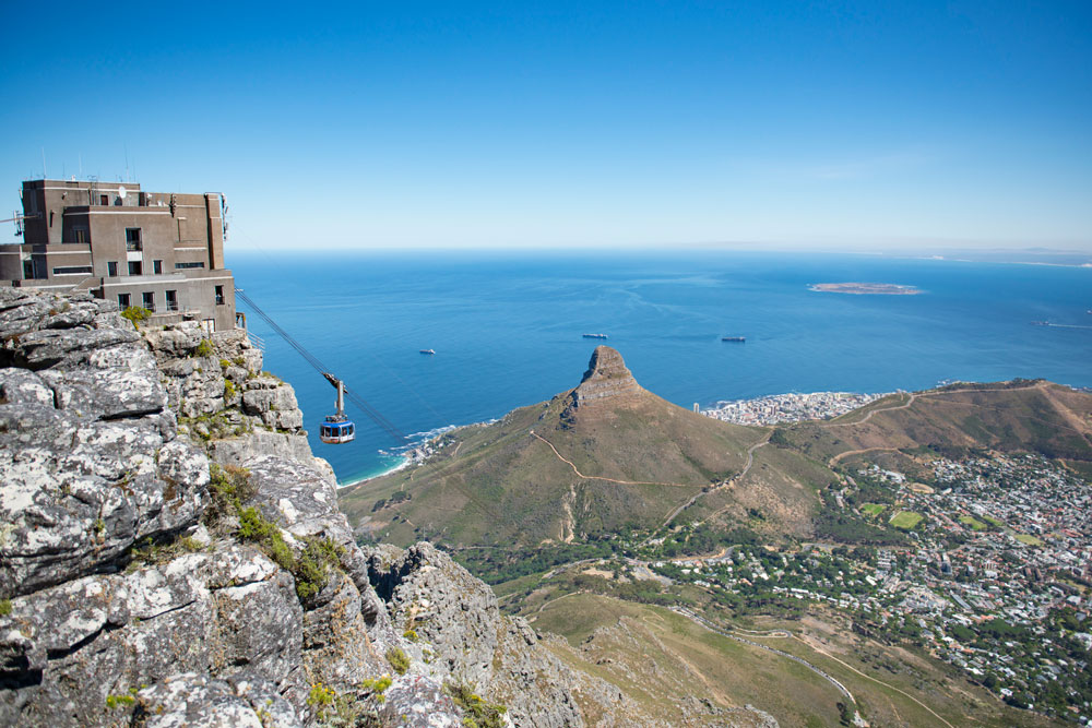 Aerial photo of the Table Mount Aerial Cableway near Cape Town in Africa