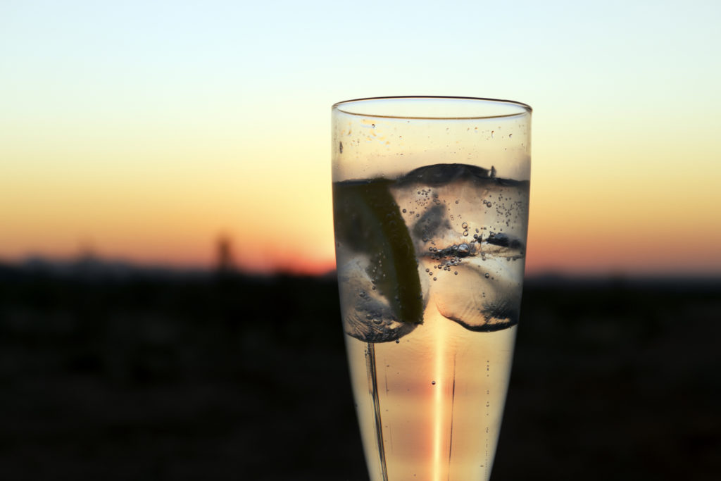 A gin sundowner drink made while on luxury African Safari