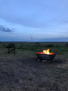 A private fly camping camp fire set up while on Tanzania safari