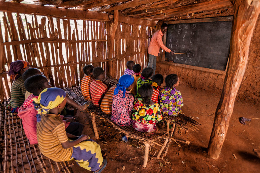 Kids in Ethiopia learning in school