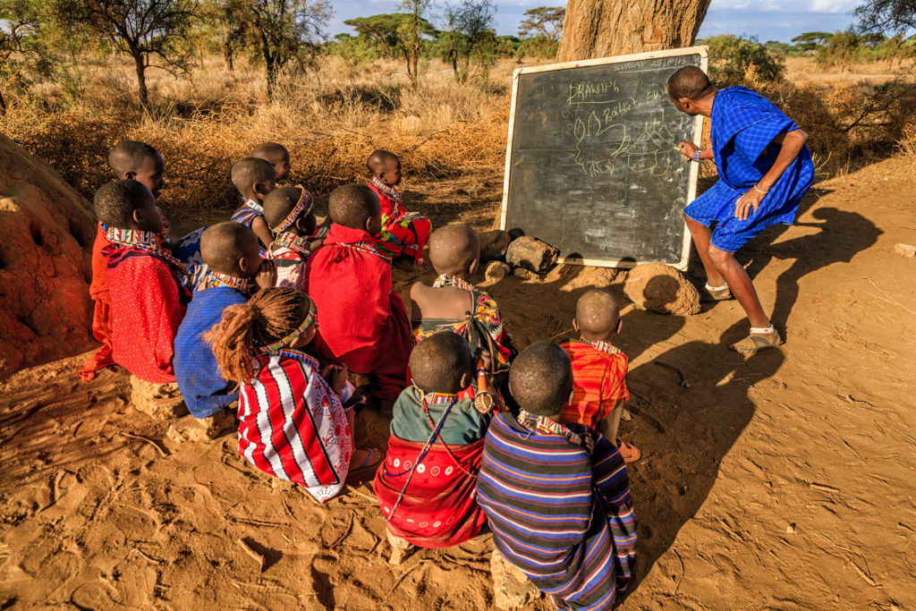 Maasai children in the school under tree in Kenya