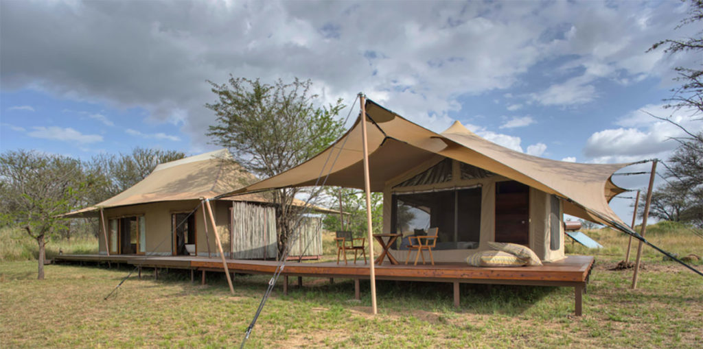 Exterior view a tent on the Sayari Camp in Serengeti National Park