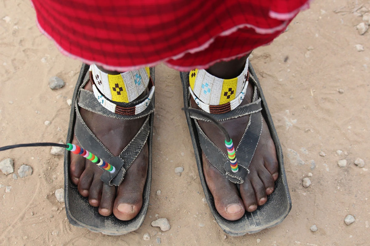 Pair of sandals on a Maasai safari guide in Tanzania, Africa