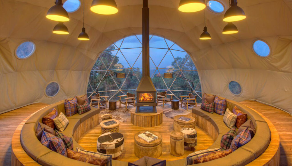 Ample space for relaxing inside a dome-shaped Highlands lodge