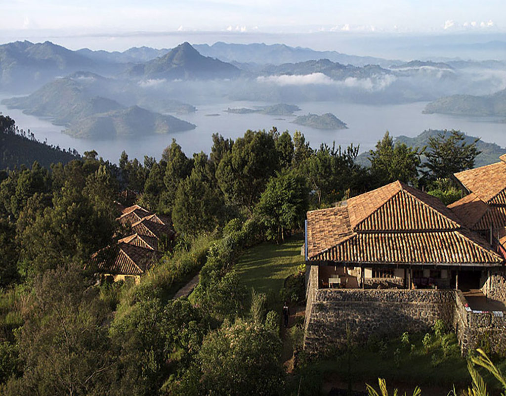 Aerial view of the Virunga Lodge in the mountains of Rwanda