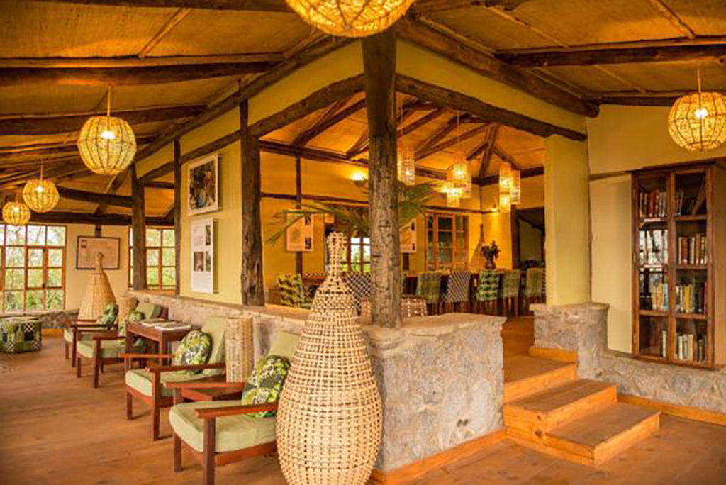 Interior view of the common area of Virunga Lodge