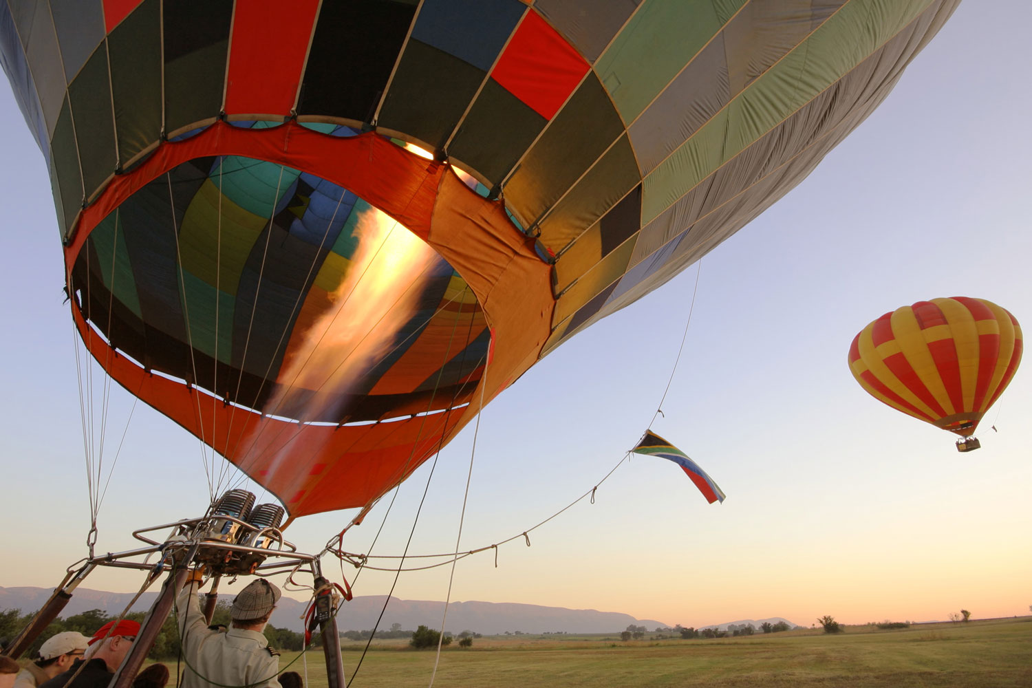 Hot air balloon about to take off
