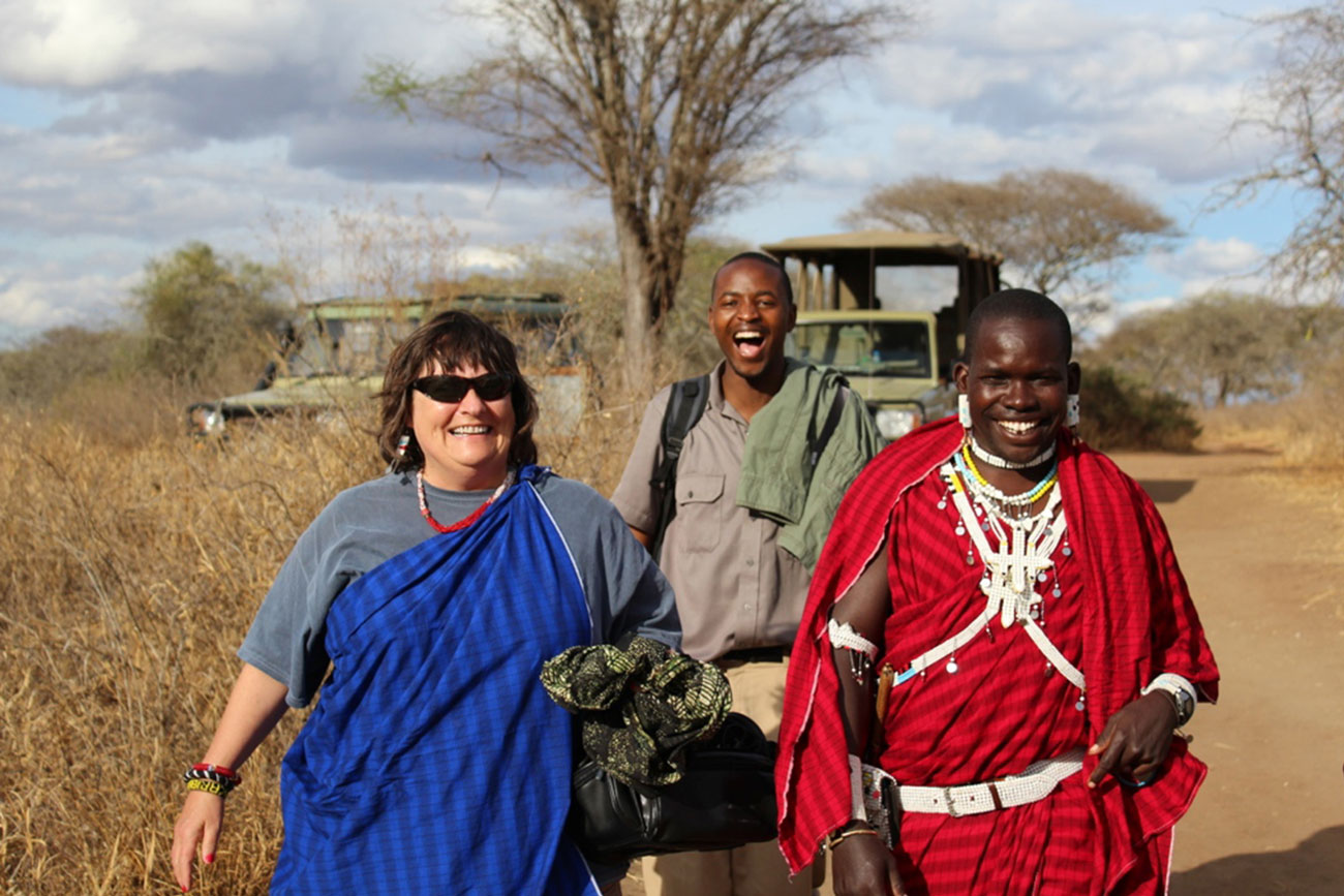 Penwell Founder Kathy Harvey with African Safari Tour Guides