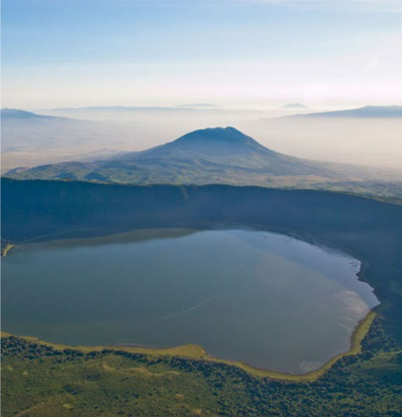 View of Ngorongoro crater from above