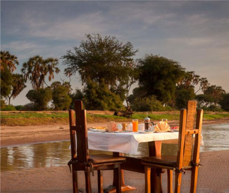Dining along the banks of the Ewaso Nyiro River